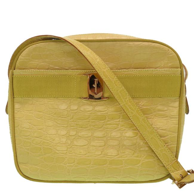 Salvatore Ferragamo Vala Embossed 0079salvatore Yellow Leather Shoulder Bag Salvatore Ferragamo Vala Embossed 0079salvatore Yellow Leather Shoulder Bag Image 1