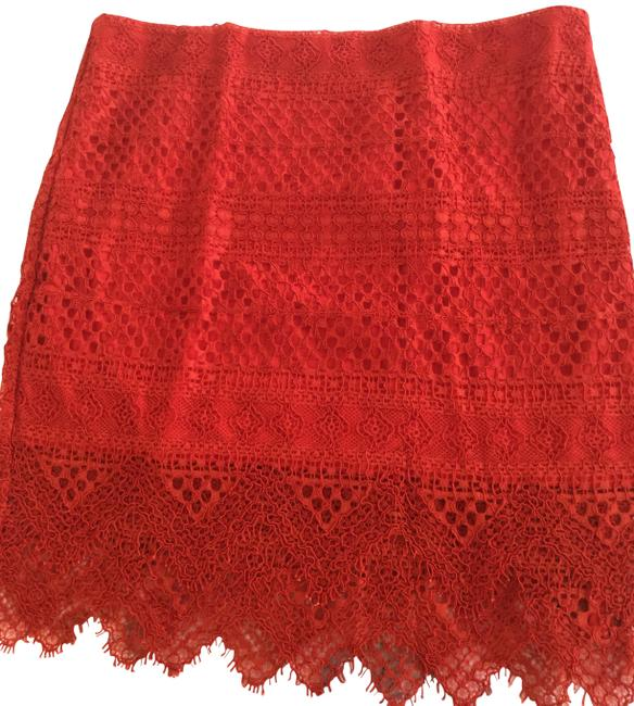 Item - Red Womens Bright On Lace Filigree Pencil Skirt Size 8 (M, 29, 30)