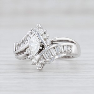 White Gold 0.87ctw Diamond Bypass Halo 14k Size 5.5 Marquise Engagement Ring