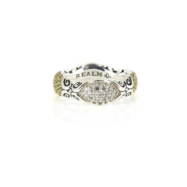 Silver Gold Over Sterling Pave Diamond Band Ring Silver Gold Over Sterling Pave Diamond Band Ring Image 1