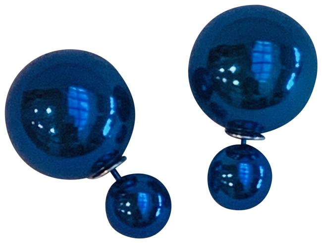 Blue Silver Double Pearl Tribal Post 15 Mm & 7 Mm Earrings Blue Silver Double Pearl Tribal Post 15 Mm & 7 Mm Earrings Image 1