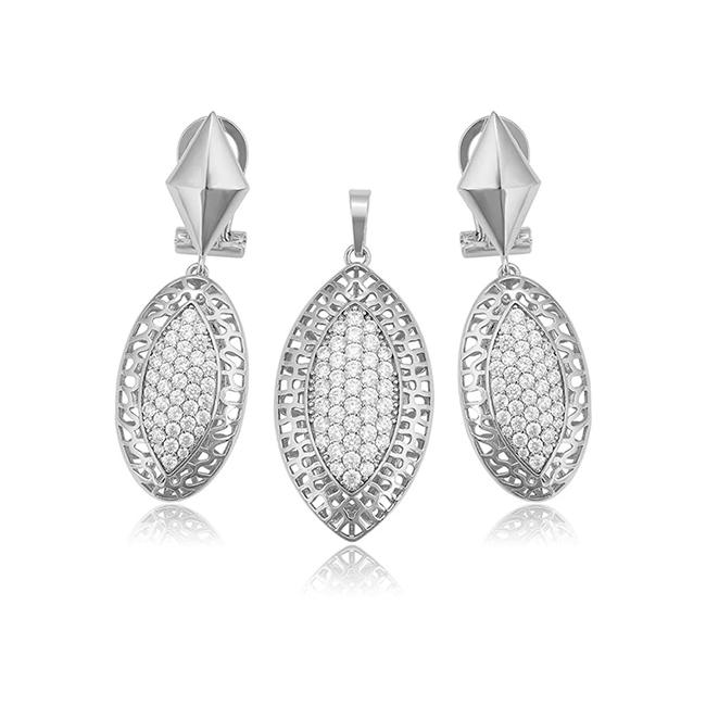 Charles Delon Silver Cdx65285 Stainless Steel Pendant Set For Women Earrings Charles Delon Silver Cdx65285 Stainless Steel Pendant Set For Women Earrings Image 1