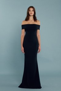 Katie May Navy Stretchcrepe97% Legacy Modern Bridesmaid/Mob Dress Size 8 (M)