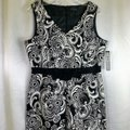 Tahari Black White By Arthur S Levine & Damask Mid-length Short Casual Dress Size 14 (L) Tahari Black White By Arthur S Levine & Damask Mid-length Short Casual Dress Size 14 (L) Image 6