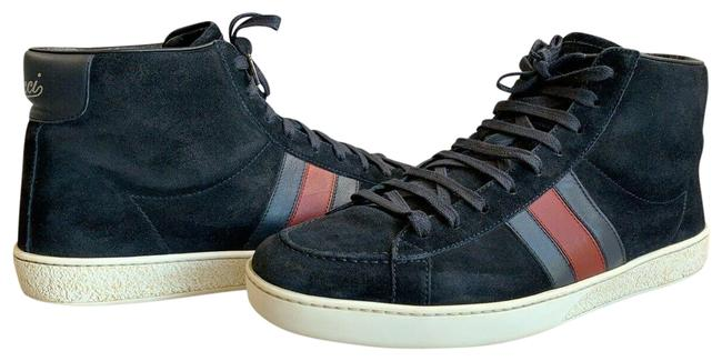 Item - Navy Suede High-top Brb Leather Web Detail 337221 G Sneakers Size US 8 Regular (M, B)
