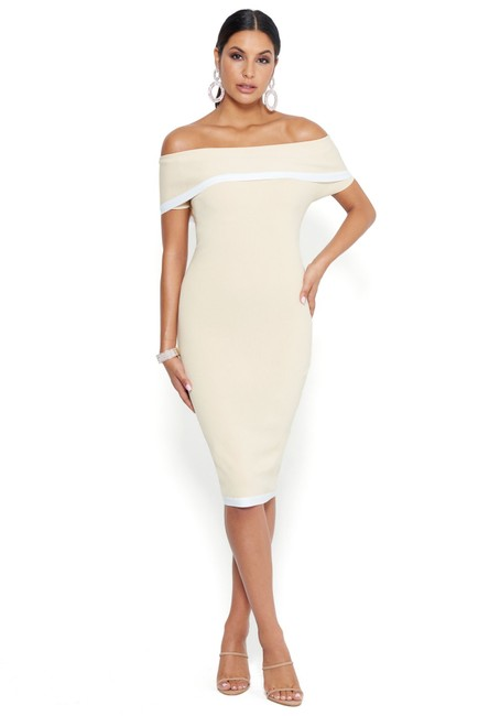 Item - Beige Off The Shoulder Sweater Midi Stretch Knit S Mid-length Cocktail Dress Size 4 (S)