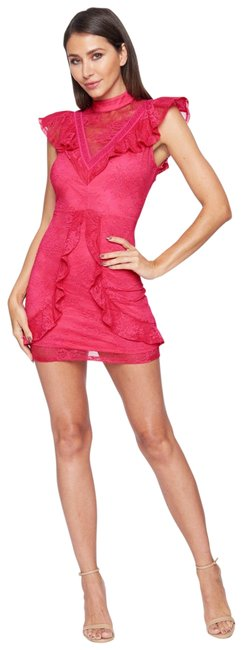 Item - Pink Stretch Lace Ruffle Trim V-neck Sheer S Short Cocktail Dress Size 4 (S)