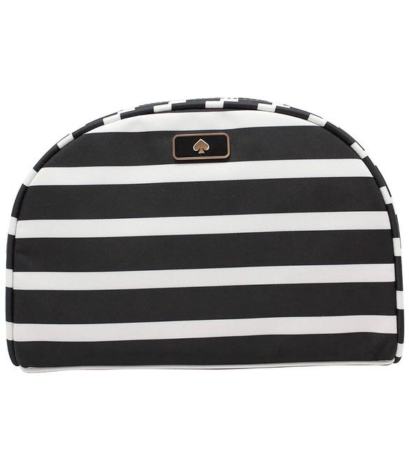 Item - Black & White (098) Dawn Sailing Stripe Medium Dome Cosmetic Bag
