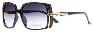 Anais Gvani Bags Classic Square Frame Sunglasses w/ Gold Lined Accent