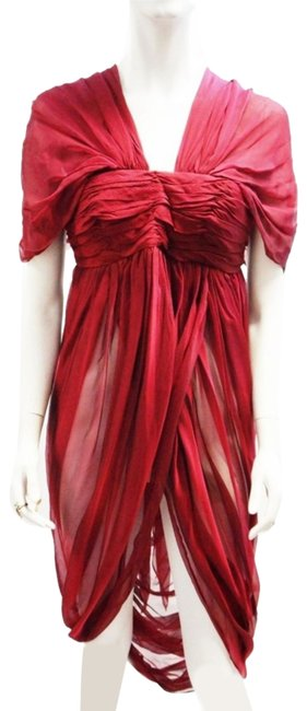 Alexander McQueen Burgundy Red New Silk Draped Semi-sheer M Short Night Out Dress Size 6 (S) Alexander McQueen Burgundy Red New Silk Draped Semi-sheer M Short Night Out Dress Size 6 (S) Image 1
