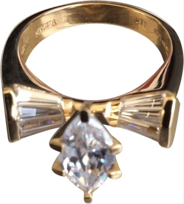 Item - White 14k Yellow Gold Marquise Cz Ring