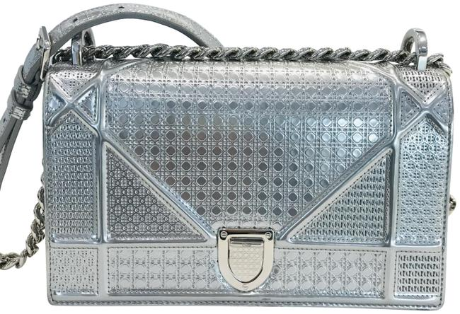 Item - Flap Metallic Calfskin Micro-cannage Small Silver Leather Shoulder Bag