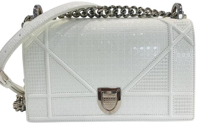 Item - Flap Calfskin Micro-cannage Small White Patent Leather Shoulder Bag