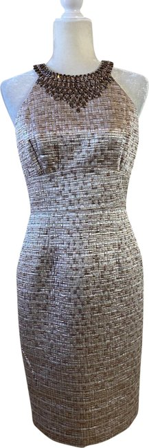 Item - Gold & Silver 234567 Mid-length Cocktail Dress Size Petite 8 (M)