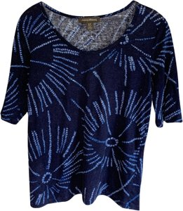 Tommy Bahama Linen Print Sheer Top Blue