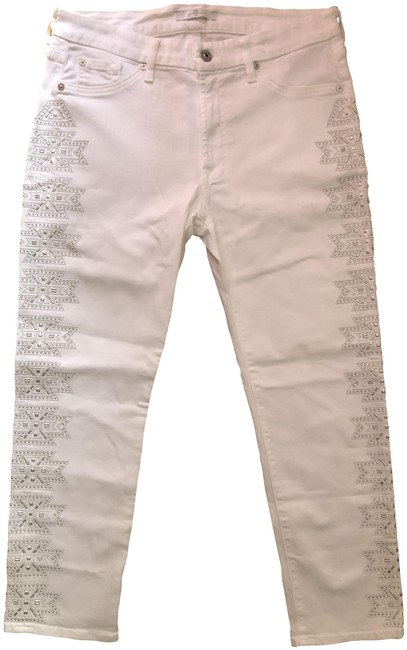 Item - White Featuring Grey Embellishments Straight Leg Jeans Size 31 (6, M)