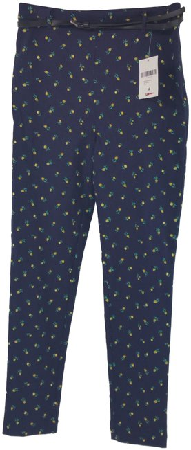 Item - Yellow Navy Women Floral Belted Ankle Woven Pants Size 8 (M, 29, 30)
