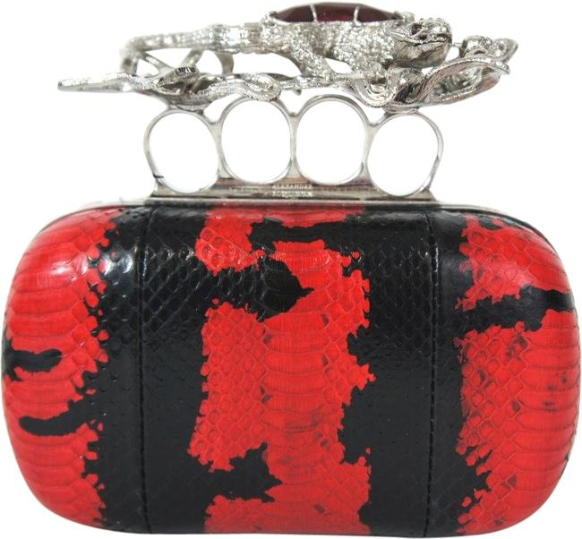 Item - Python Glory Knuckle 373692 Flame Black Leather Clutch