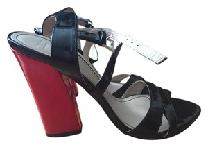 Zara Modern Colorblock Strappy Black and Red Sandals