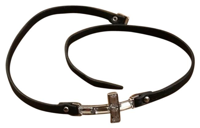 Lexico Fashion Black/Silver Thin Leather Inverted Cross Choker Bracelet Necklace Lexico Fashion Black/Silver Thin Leather Inverted Cross Choker Bracelet Necklace Image 1