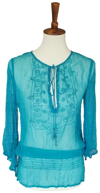 Item - Teal See-through Beaded Sequin Blouse Size 6 (S)
