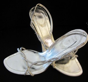 Rene Caovilla Slingbacks Crystal Handmade Satin Silver Wedding Shoes