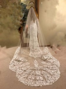 White Long Cathedral 3 Scalloped Edge Lace Bridal Veil
