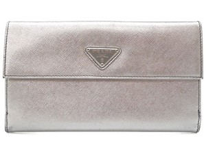 Prada Prada Silver Saffiano Leather Wallet Purse 0295 PRADA