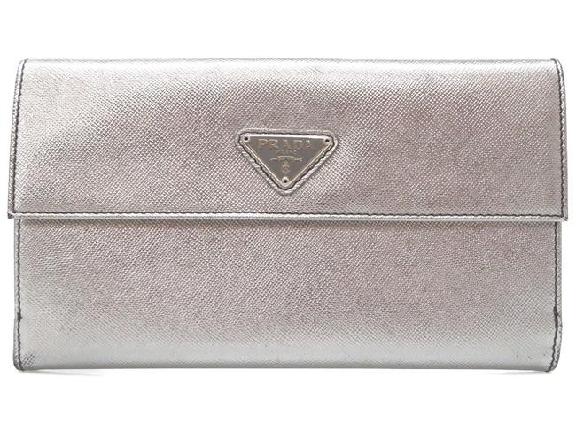 Item - Silver Saffiano Leather Purse 0295 Wallet