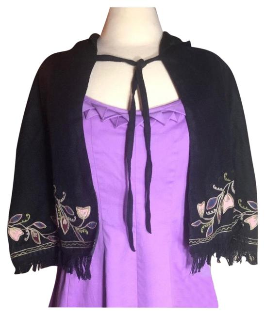 Item - Black/Green One Size-free Black/Floral Embroidered Hooded Poncho/Cape Size OS (one size)