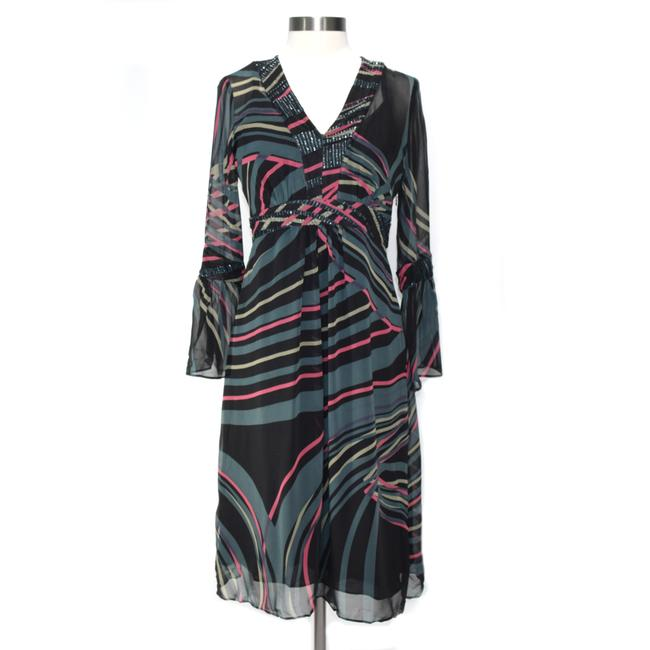 Item - Black Multi Silk Bell Sleeve Embellished Mid-length Night Out Dress Size 6 (S)