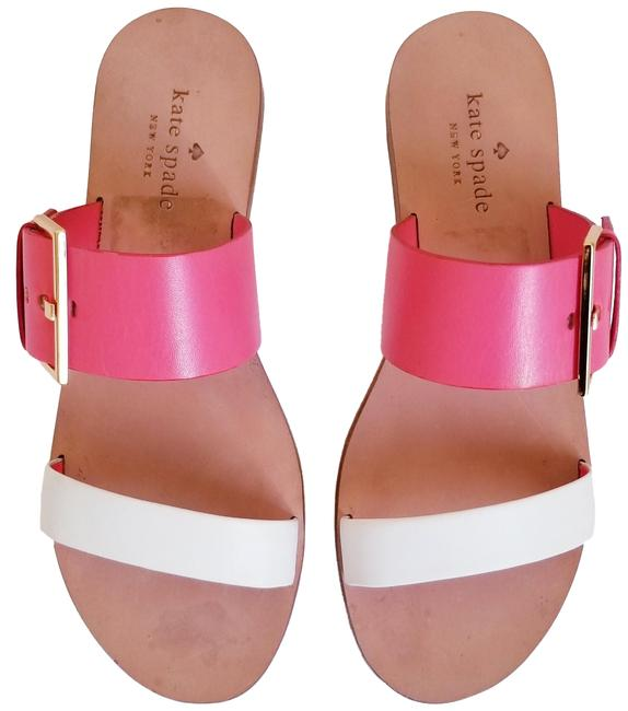 Item - Pink and White Attitude Two Band Sandals Size US 6.5 Regular (M, B)