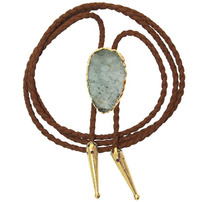 Item - Brown Aquamarine Bolo Stone Braided Vegan Faux Leather Gold Tips Necklace