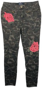 Boom Boom Jeans Camo Camouflage Floral Applique Juniors Size Skinny Jeans