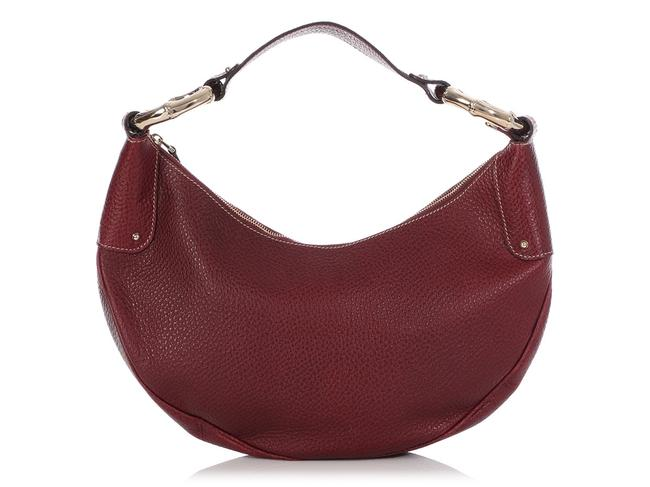 Item - Burgundy Bamboo Ring Red Leather Hobo Bag