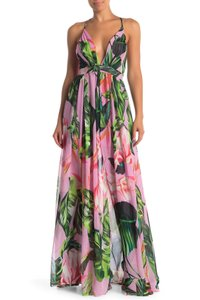 Pink Green Maxi Dress by Meghan LA Floral Flower Adjustable Straps Enchanted Garden Party