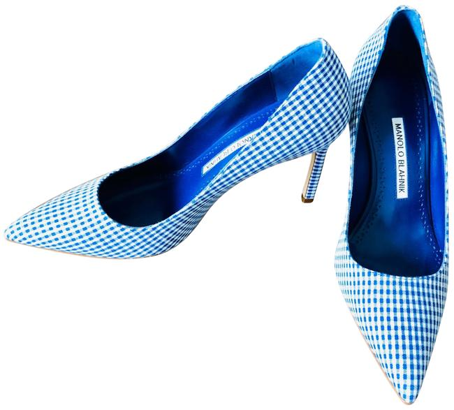 Item - Navy and White Gingham Pumps Size EU 38.5 (Approx. US 8.5) Regular (M, B)