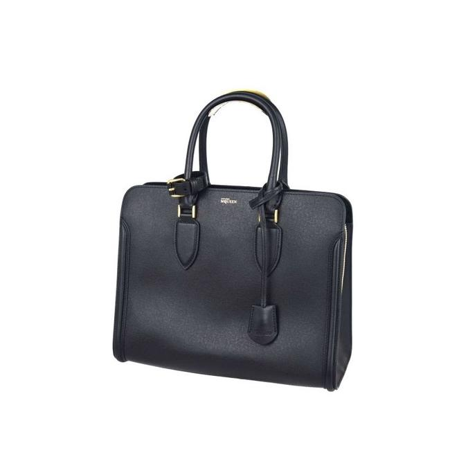 Alexander McQueen Heroine Open 321785 Black Leather Tote Alexander McQueen Heroine Open 321785 Black Leather Tote Image 1