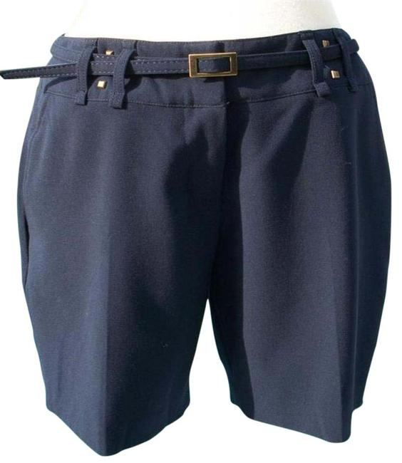Cache Navy Blue XS Trouser Removable Belt Pant New Lined Metal Stud 0/2/4 Xs/S Shorts Size 2 (XS, 26) Cache Navy Blue XS Trouser Removable Belt Pant New Lined Metal Stud 0/2/4 Xs/S Shorts Size 2 (XS, 26) Image 2