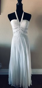 White Chiffons with Beads Casual Wedding Dress Size 4 (S)