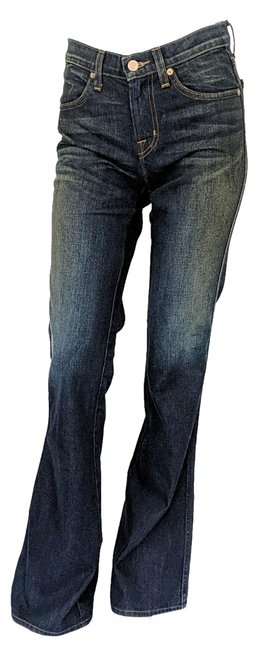 Item - Blue/Green Dark Rinse Herderson Faded Mid Old School Boot Cut Jeans Size 27 (4, S)