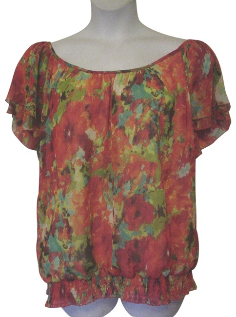 Item - Orange Red Greenwatercolor Tiered Cap Sleeve 3x Blouse Size 26 (Plus 3x)