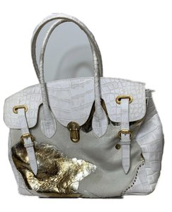 Retta Wolff Leather Embossed Tote in White and Gold
