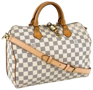 Louis Vuitton Lv Speedy Damier Azur Bandouliere Tote in White