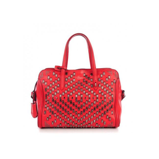 Item - Small Studded Sjull Padlock Zip 344015 Bright Red Leather Satchel