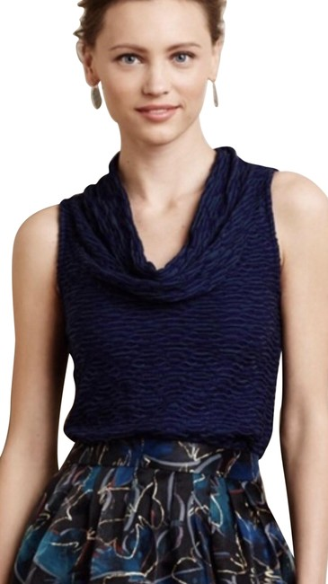 Item - Navy Blue/Green Deletta Cowl Neck Tank Top/Cami Size 4 (S)