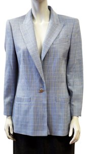 Escada Vintage Pastel Blue Yellow Plaid Wool Silk Blazer Size 38 Size 8 Multi Color Jacket