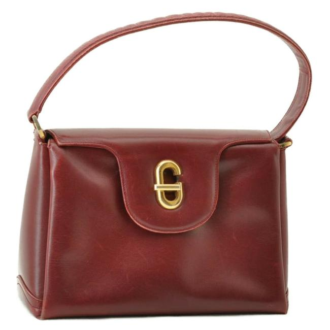 Item - Bag Jackie Twist 1960's Early Style Top Handle With Red Leather/Gold G Clasp Satchel