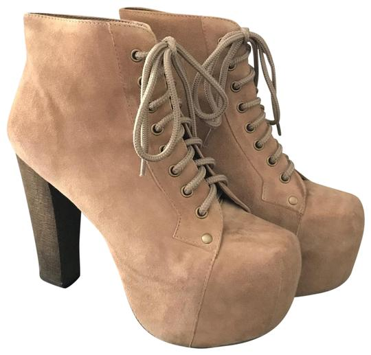 Jeffrey Campbell Taupe Suede Lita Boots