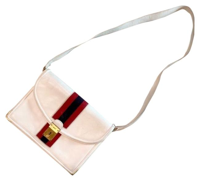 Item - Ophidia Envelope Top Two Way Style with Sherry Stripe White Leather/Red/Blue Shoulder Bag